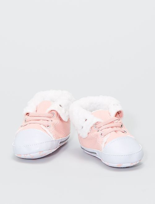 Zapatillas altas forradas de tela                                                     rosa