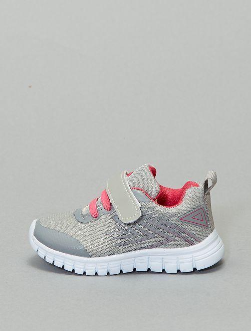 Zapatillas bajas bicolor con velcro                             gris