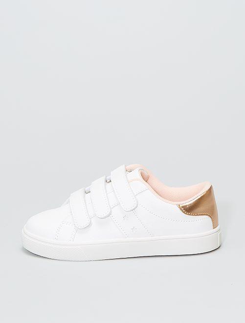 Zapatillas bajas con 3 velcros                                         blanco