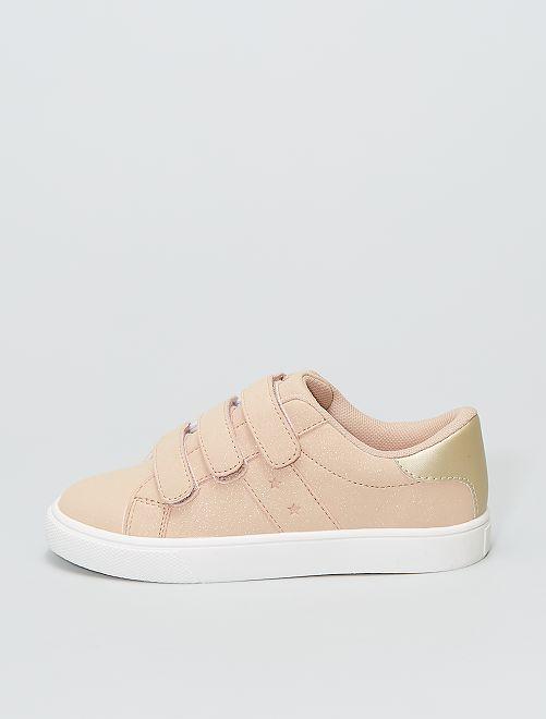 Zapatillas bajas con 3 velcros                                         rosa