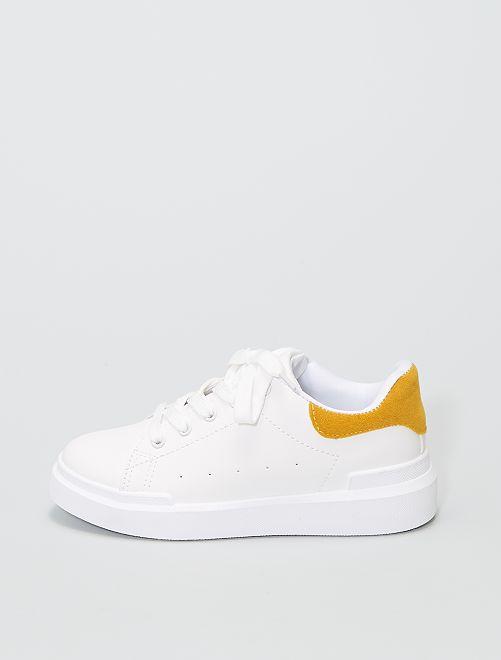 Zapatillas bajas con panel                             amarillo