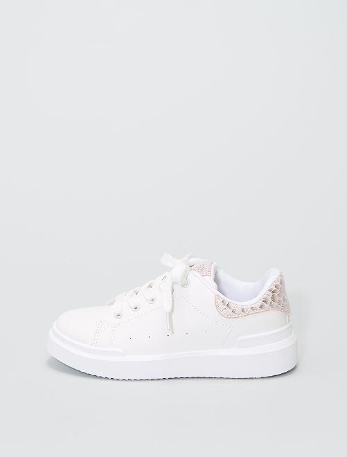 Zapatillas bajas con panel                             rosa