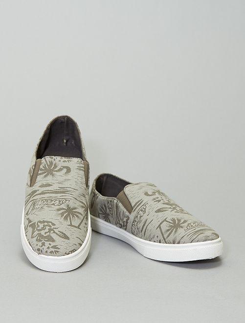 Zapatillas bajas de tela con estampado de Hawái                             gris oscuro