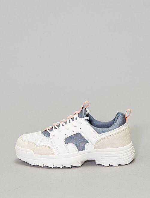 Zapatillas bajas dos materiales                             azul
