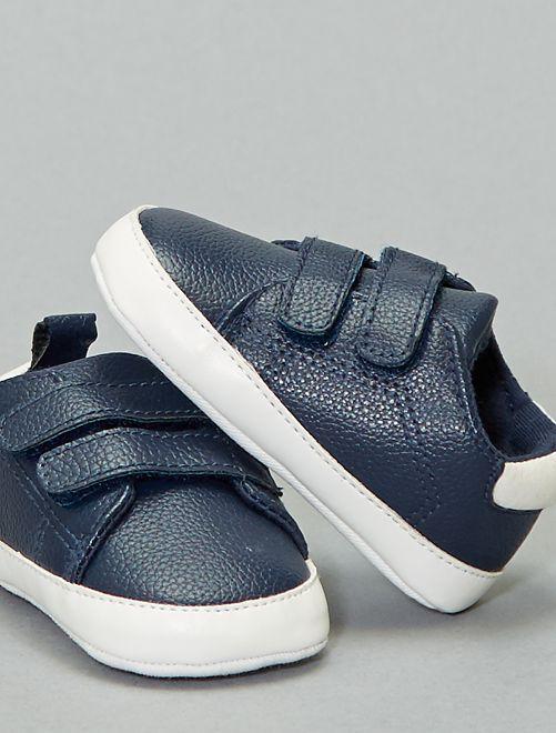 Zapatillas bicolor con velcro                             azul