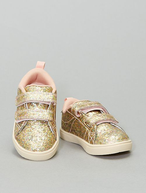 Zapatillas brillantes con velcro                             BLANCO