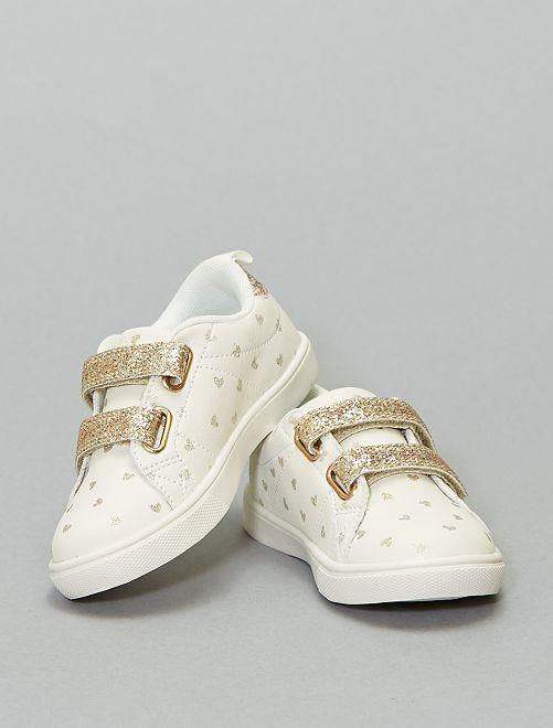 Zapatillas brillantes con velcro                             blanco