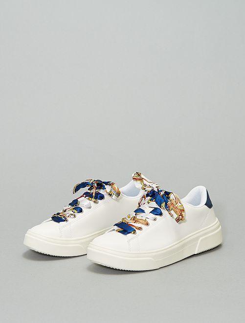 Zapatillas con cordones satinados                             BLANCO