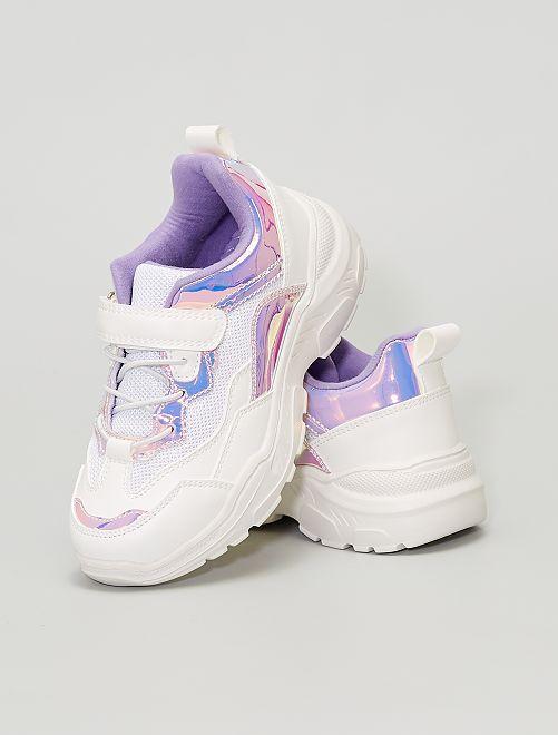 zapatillas con velcro y cordones                             BLANCO