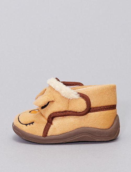 Zapatillas de casa altas 'cabeza de animal'                                         castaño