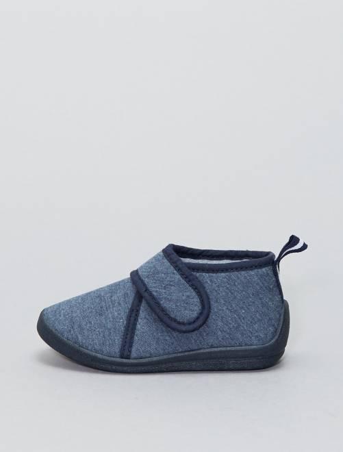 Zapatillas de casa altas con velcro                             azul Bebé niño