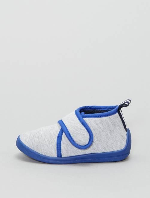 Zapatillas de casa altas con velcro                                         gris Bebé niño