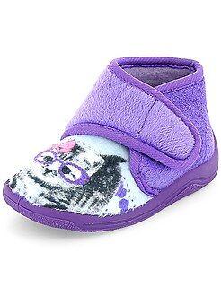 Niña 0-36 meses Zapatillas de casa altas con velcro