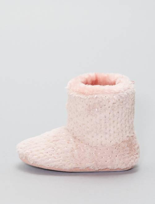 Zapatillas de casa altas de punto de felpa                             rosa Chica