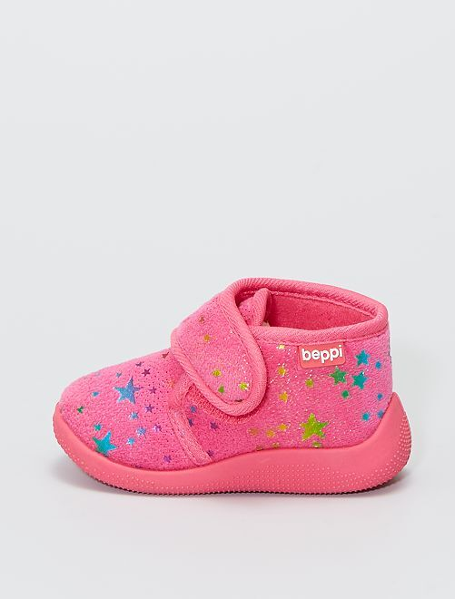 Zapatillas de casa altas de terciopelo 'estrellas'                             fucsia