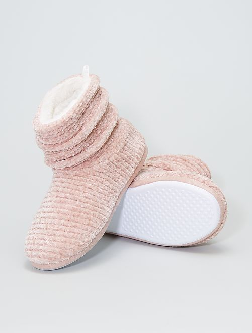 Zapatillas de casa altas tipo botines                             rosa