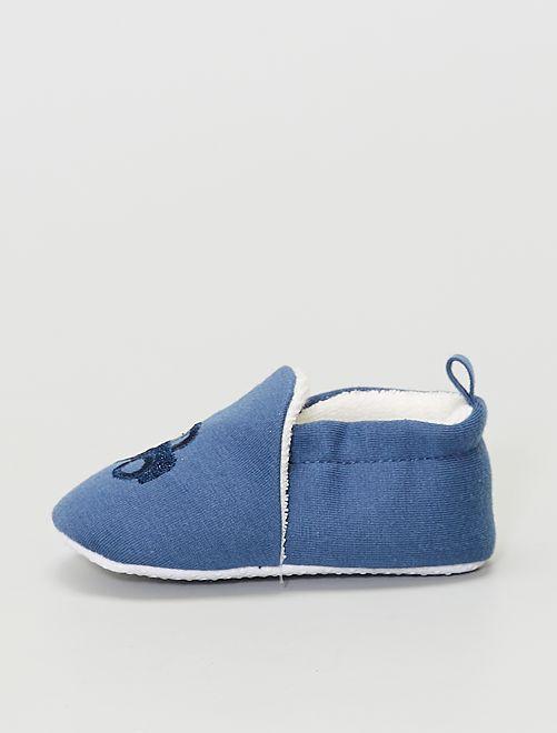 Zapatillas de casa bordadas                                                     AZUL