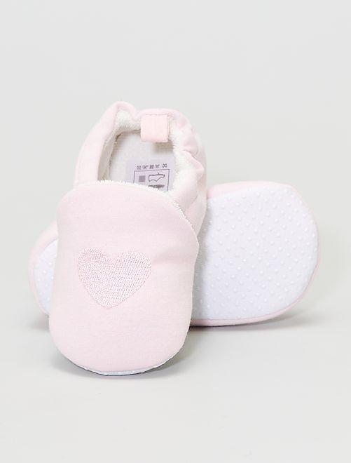Zapatillas de casa bordadas                                                     rosa