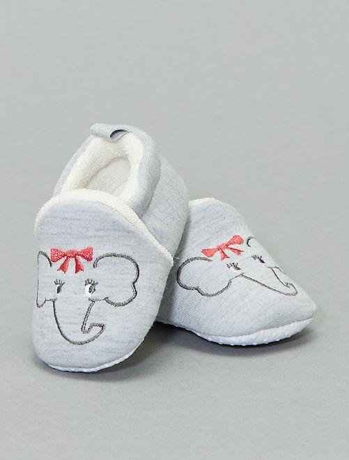 Zapatillas de casa bordado 'conejo'                                                                 gris claro
