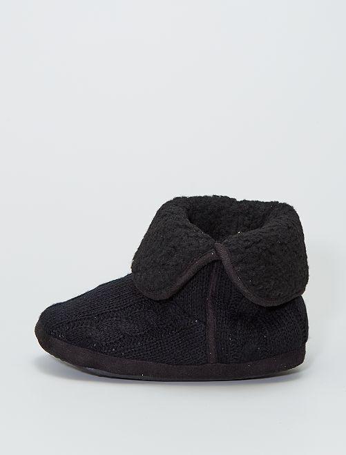 Zapatillas de casa botines tricot                                         NEGRO