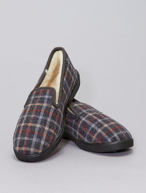 Zapatillas de casa clásicas de cuadros                             GRIS