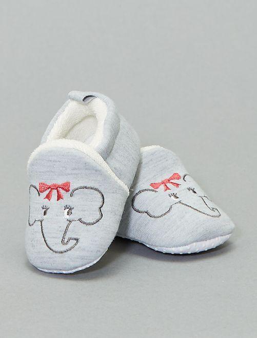 Zapatillas de casa con bordado de 'elefante'                                                                 gris claro