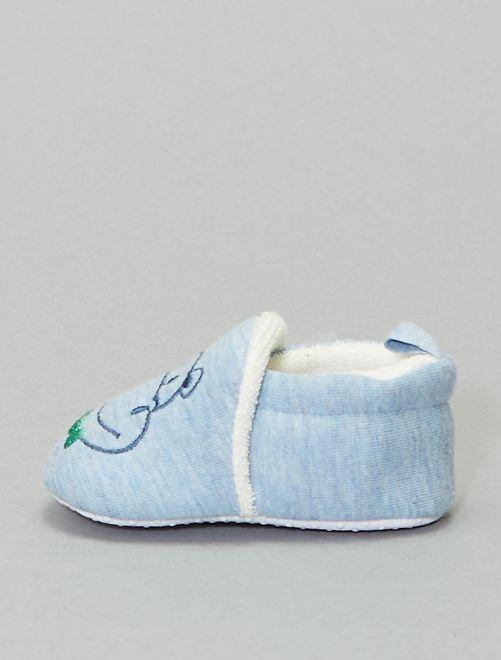 Zapatillas de casa con bordado de hipopótamo                                                                 azul celeste