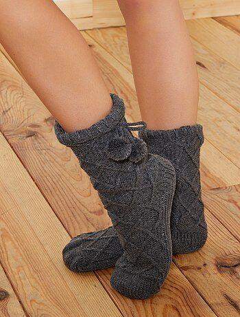Mujer talla 34 to 48 - Zapatillas de casa con forro de borreguito - Kiabi