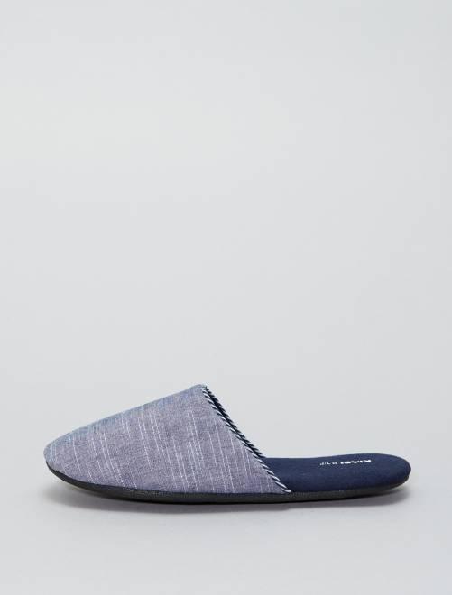 Zapatillas de casa con forro polar                                         azul navy Hombre