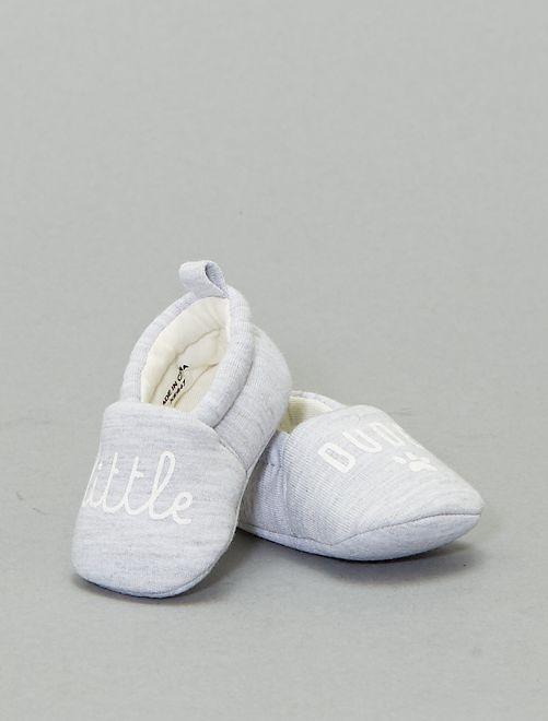 Zapatillas de casa con mensaje                                         gris