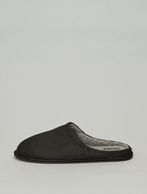 Zapatillas de casa con pelo                                         negro Hombre