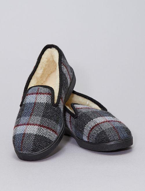Zapatillas de casa de cuadros                             GRIS