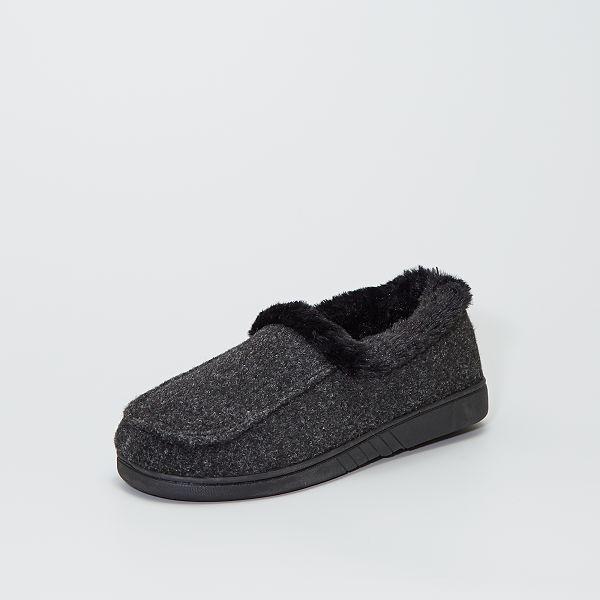 Zapatillas De Casa De Fieltro Con Interior De Pelo Tallas Grandes Hombre Gris Kiabi 10 00