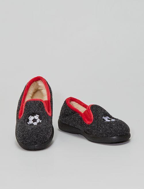 Zapatillas de casa de lana                                         NEGRO