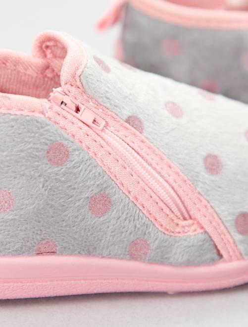 8c176febfd0 Zapatillas de casa de lunares glitter Chica - gris - Kiabi - 2,00€