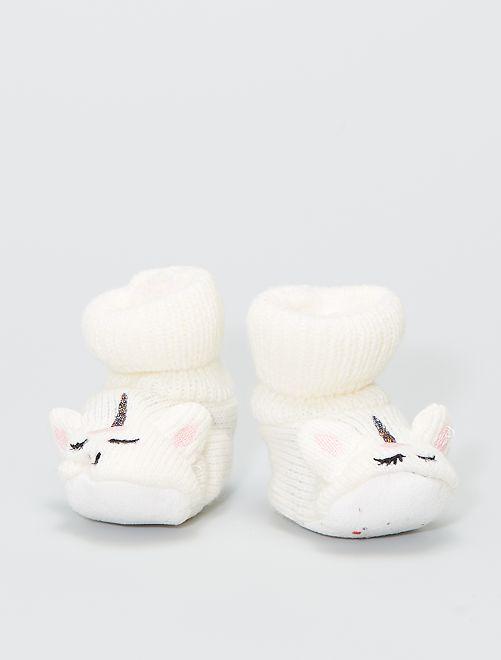 Zapatillas de casa de punto de canalé                                         crudo