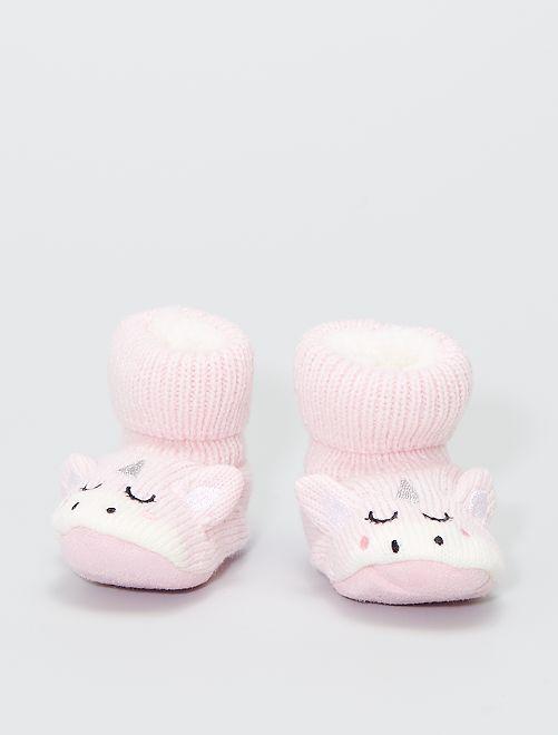 Zapatillas de casa de punto de canalé                                         rosa