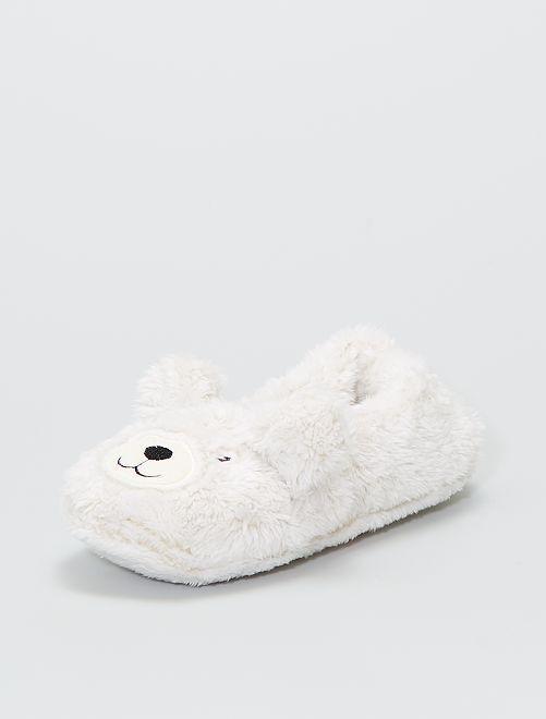 Zapatillas de casa de punto de felpa                                                     blanco