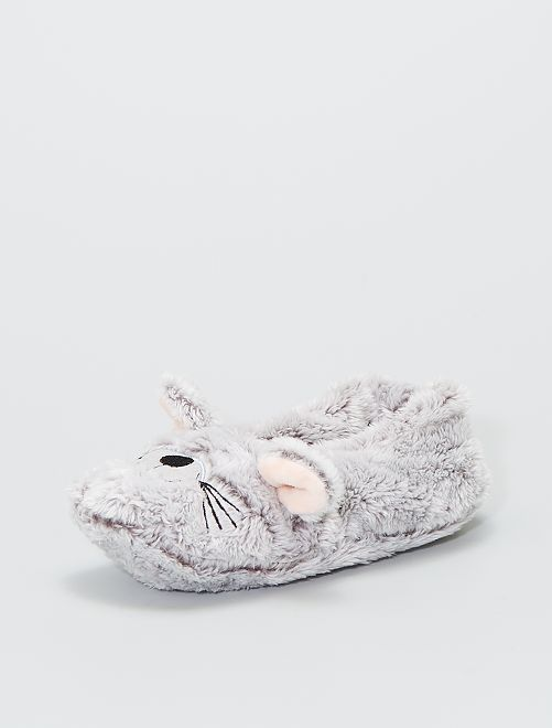 Zapatillas de casa de punto de felpa                                                     gris