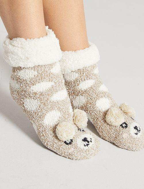 Zapatillas de casa de punto de felpa tipo calcetines                                                     BEIGE