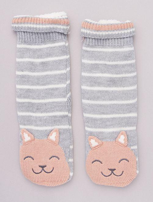 Zapatillas de casa de punto de felpa tipo calcetines de animales                                                     a rayas