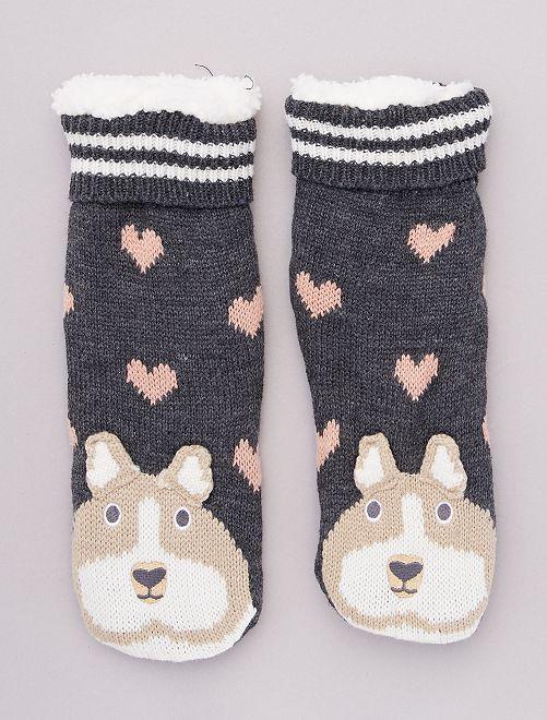 Zapatillas de casa de punto de felpa tipo calcetines de animales                                                     corazón