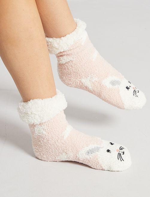 Zapatillas de casa de punto de felpa tipo calcetines                             rosa
