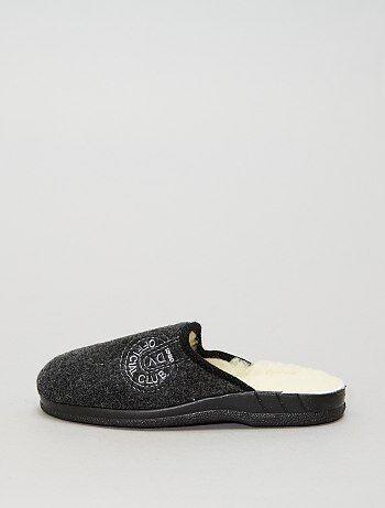 Hombre talla S-XXL - Zapatillas de casa destalonadas con interior de lana - Kiabi