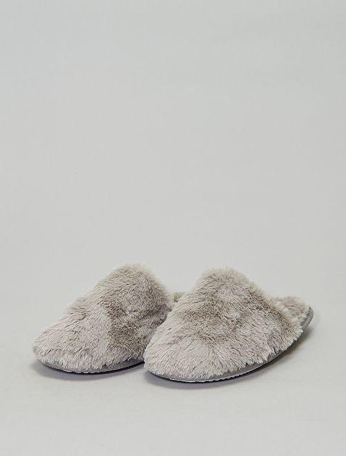 Zapatillas de casa destalonadas con pelo                                         gris Mujer talla 34 a 48