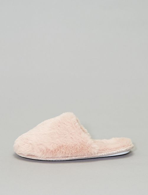Zapatillas de casa destalonadas con pelo                                         rosa
