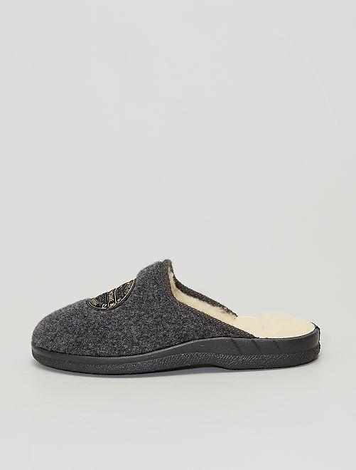 Zapatillas de casa destalonadas de fieltro                             gris