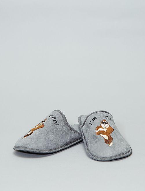 Zapatillas de casa destalonadas 'gorila'                                         gris Hombre