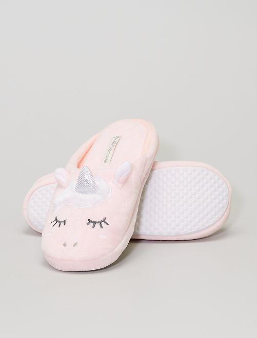 Zapatillas de casa destalonadas 'unicornio'                     ROSA