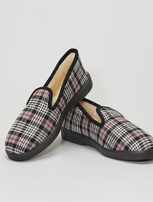 Zapatillas de casa escocesas                             gris